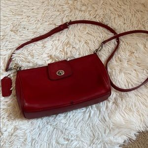 Red leather coach cross body bag
